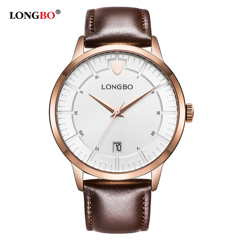 LONGBO 2018 Leather Quartz Watch Men Top Brand Luxury Fashion Date Wrist Watches Male Clock for Man Hodinky Relogio Masculino longbo luxury brand fashion quartz watch blue leather strap women wrist watches famous female hodinky clock reloj mujer gift