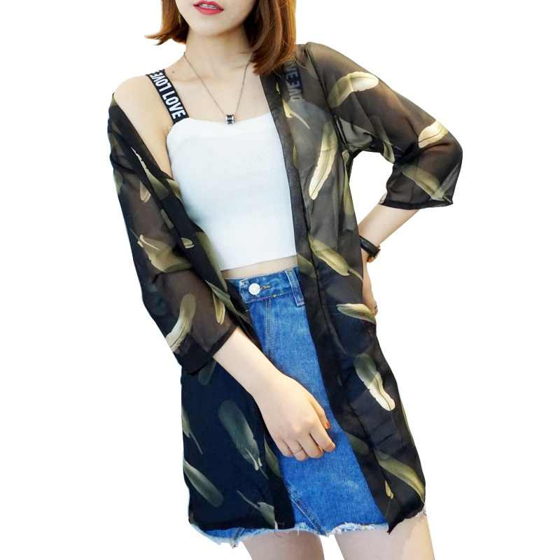 8f346b69d14 ... Blusas 2018 Summer Women Kimono Cardigan Casual Loose Chiffon Blouses  Shirts Bohemian Floral Printed Long Outerwear ...