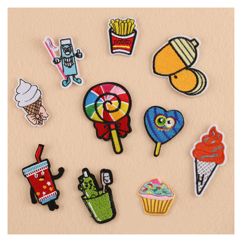 New Cake Icecream Lollipop Toothpaste Drink Patches Iron On Or Sew Fabric Sticker For Clothes Badge Embroidered Appliques DIY