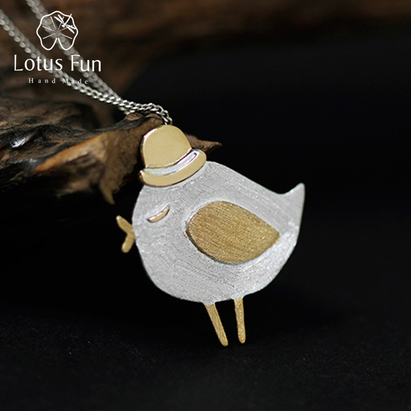 Real 925 Sterling Silver Natural Handmade Fine Jewelry Lovely Gentleman Bird Pendant without Necklace for Women
