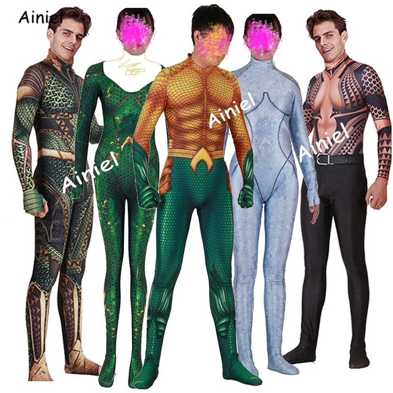 Anime Justice League Aquaman Arthur Curry Mera Atlanna Cosplay Aquaman Halloween Costumes Zentai Jumpsuit Kids Men Adult Women