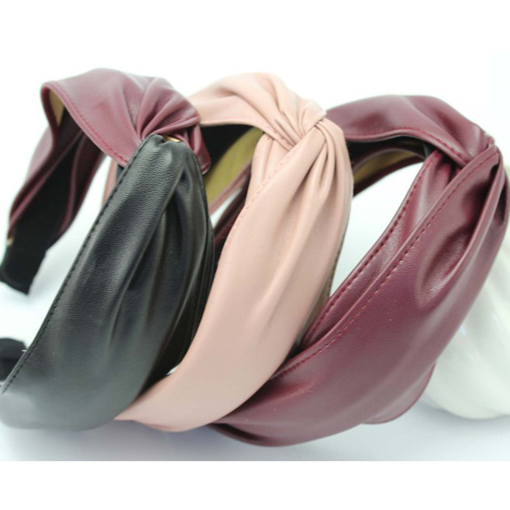 2019 Vintage Women's Hairband Leather Cross Knot Hair Accessories For Adult Wholesale   Headwear   Adult Women