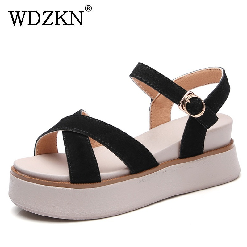 WDZKN 2018 Cow Suede Women Gladiator Sandals Summer Wedge Platform Sandals Women Open Toe High Heel Casual Shoes Sandalias Mujer 2017 summer new open toe high heels zipper fretwork sandalias mujer botas narrow band shallow mouth gladiator women sandals
