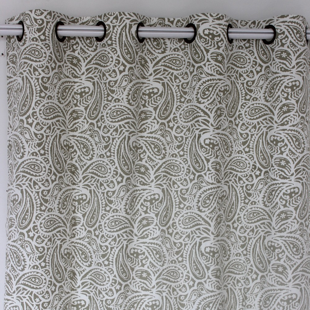 VEZO HOME New Vintage Printed Paisley Cotton Linen Finished Window Curtains  Panel Door Bedroom Living Room