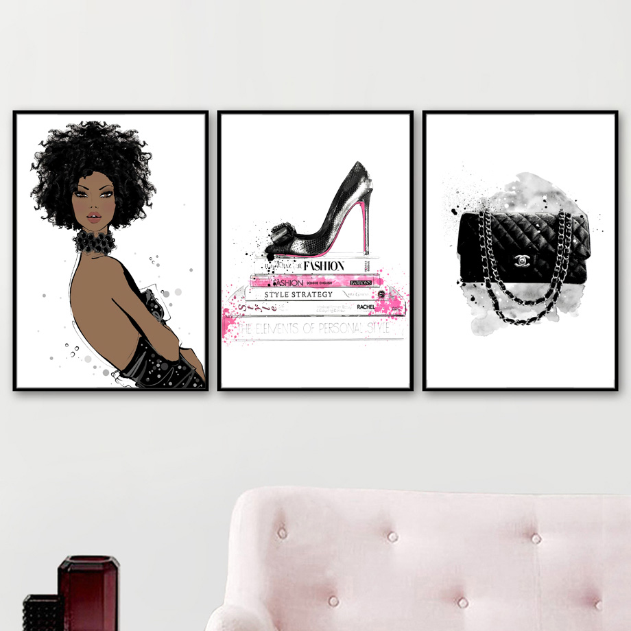 Fashion Girl Book High Heels Handbag  Wall Art Canvas Painting Nordic Posters And Prints Wall Pictures For Living Room Decor