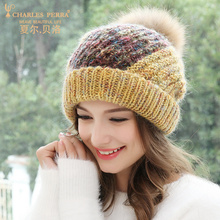 Charles Perra Women Hat Female Korean Version Fashion Warm Hand-Made Woven Knitted Caps Elegant Lady Winter Hats 4909