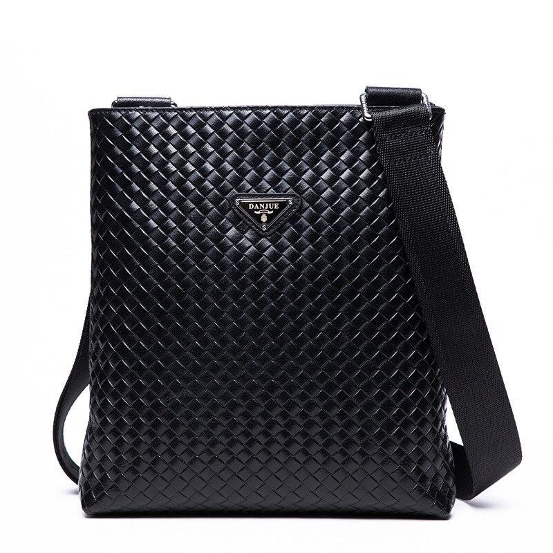 DANJUE2018 Genuine Leather Messenger Bags Men Bag Knitting Vintage Male Business Bag Soft Classic Black Crossbody Bag Male Daily
