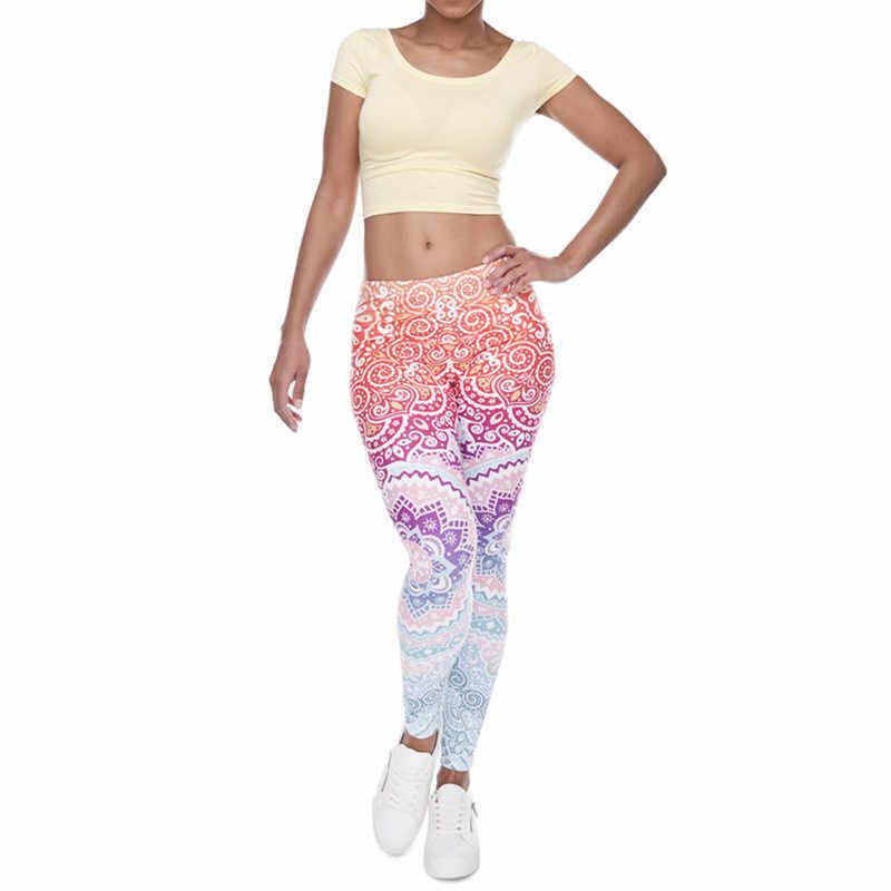 2017 горячие женские Леггинсы ацтеков круглый Омбре печать леггинсы тонкий высокая талия леггинсы женские брюки для йоги 568TT