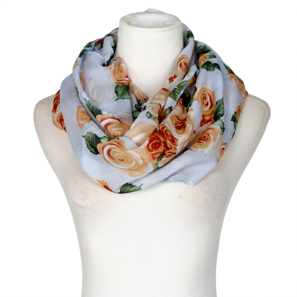 Fashion Women Rose Flower Soft Double Loop   Scarf     Wrap   Ring   Scarf   Women Soft Winter Infinity   Scarves   bufandas invierno mujer A9