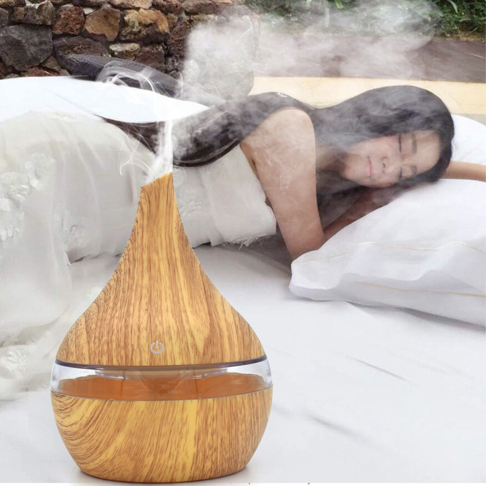 Humidifier 300ml Aroma Essential Oil Diffuser Ultrasonic Air Humidifier with Wood Grain 7Color Changing LED Lights electric