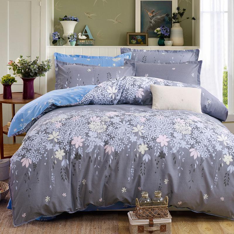 Classic Bedding Set 5 Size Grey Blue Flower Bed Linen 4pcs Set Duvet Cover Set Pastoral Bed Sheet Ab Side Duvet Cover 2019 Bed