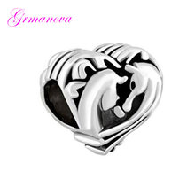 Beads Jewelry Making Bracelet Lover Jewelry Pendant Animal Horse Heart Shape Charm Beads Fit Pandora Necklace bracelet(China)