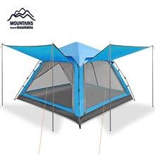 Открытый 3-4 человека автоматический водонепроницаемый ветрозащитный Противомоскитный двухслойный дышащий Кемпинг пляж семья путешествия палатка