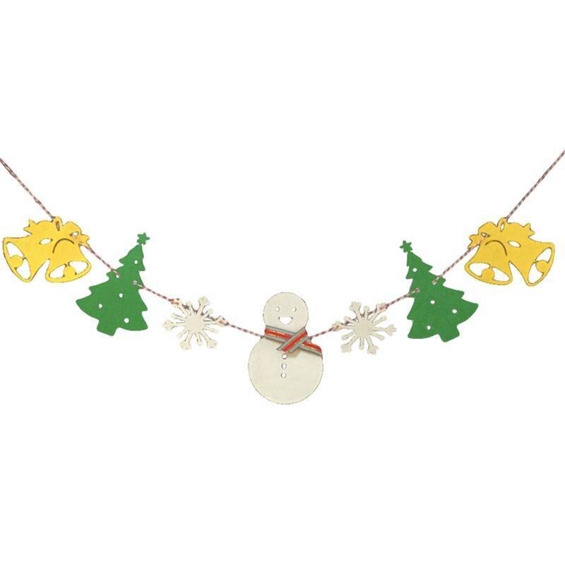 Рождество баннер овсянка баннер, флаг Chirstmas Снеговик Снежинка олень колокол дерево вечерние украшения (желтый колокол)