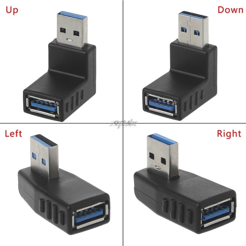 Right Angle USB Male to Up Facing Horizontal Female Adapter Extension Connector