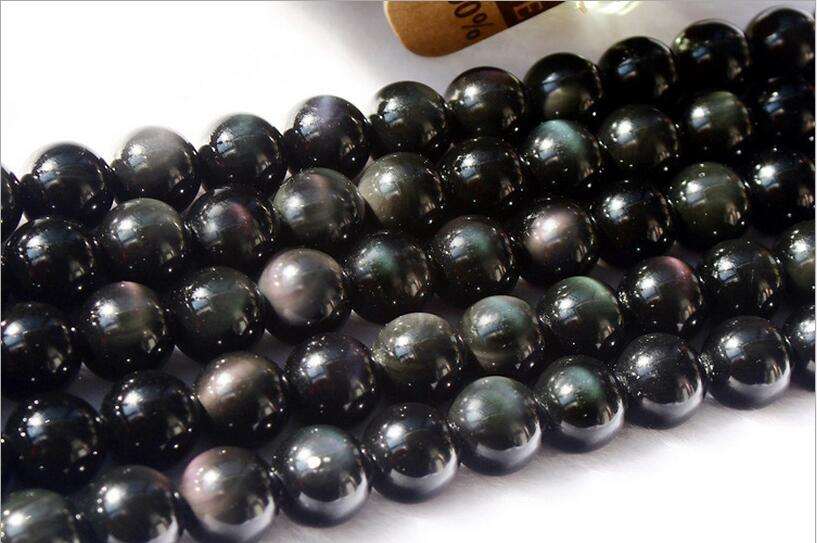 1Strand lot Natural Genuine Flash Rainbow Obsidian Stone Round Loose Beads 4 5 6 8 10 12 14mm Pick Size for DIY Jewelry Making in Beads from Jewelry Accessories
