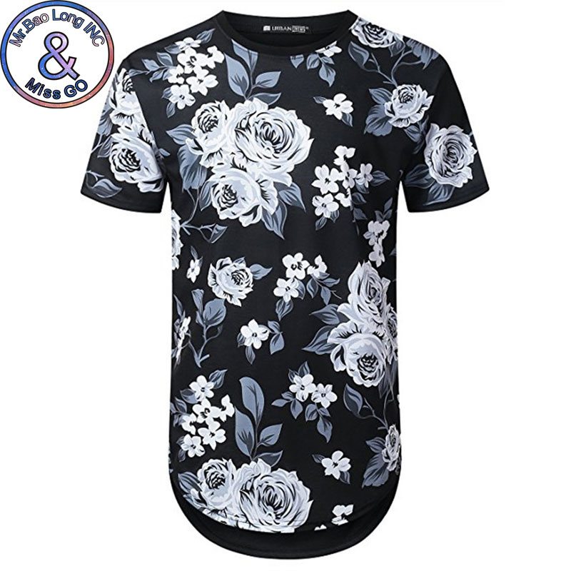 Mens Hipster Hip Hop Floral Printed Longline T-shirt 2018 Summer Short Sleeve Extra Long Tee Shirt Casual Brand Flower Tshirt