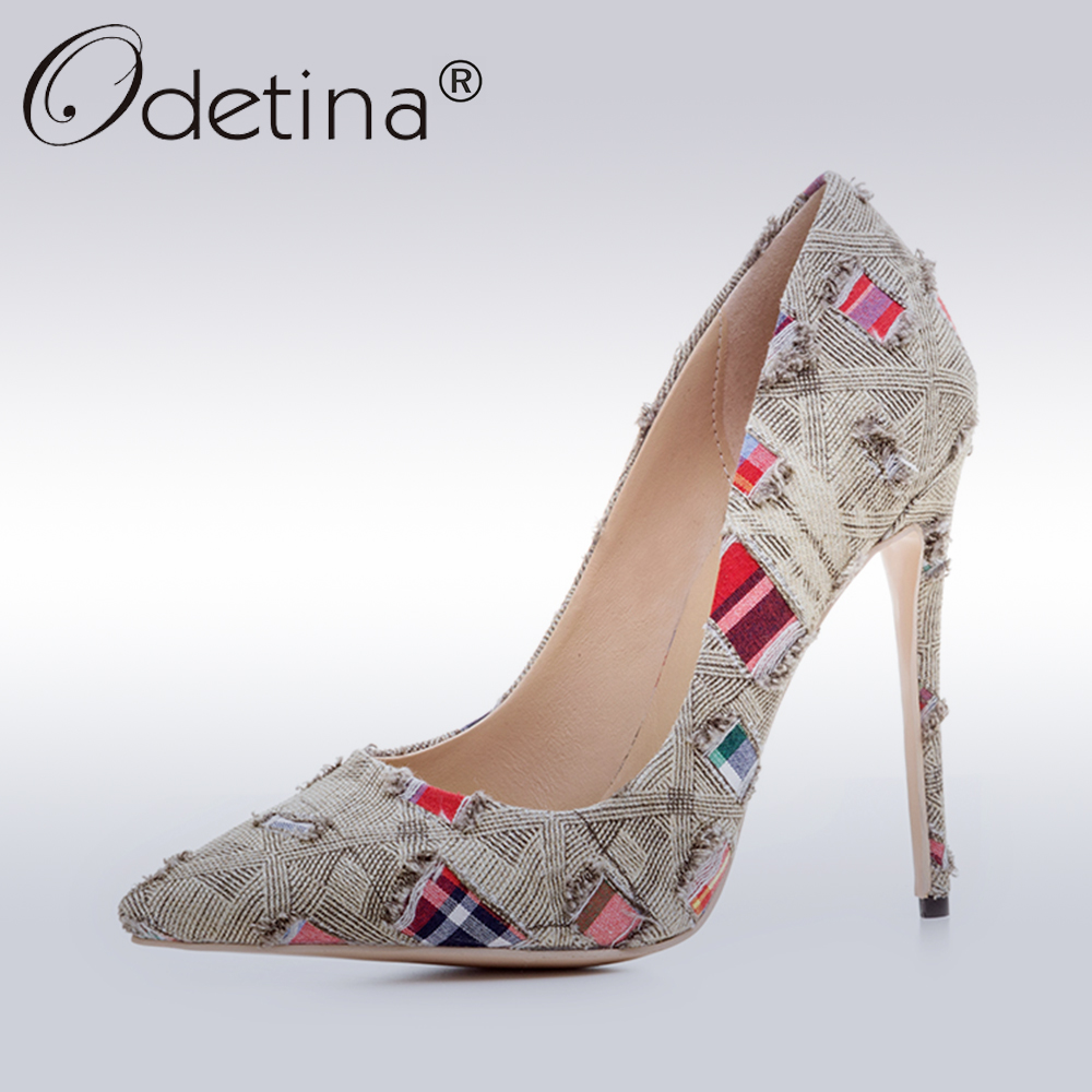Odetina 2017 Fashion Ladies Denim High Heels Sexy Pumps Women Party Shoes Stiletto Pointed-toe Mix Color Thin Heel Big Size 43  цена и фото