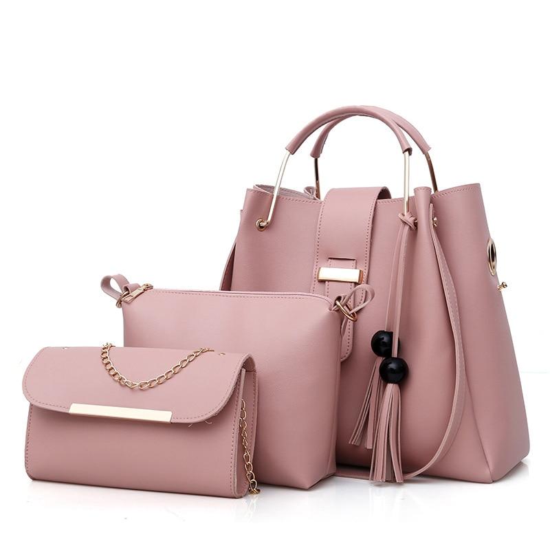 3Pcs/Set Handbags Leather Shoulder Bags for women 2018 Large Capacity Casual Tote Bag Tassel Bucket Purses And Handbag Sac bolsa