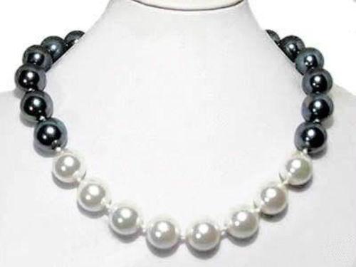5984f64adc87 2017 12mm blanco Negro Mar del Sur Conchas perla collar joyería cuerda  cadena collar DIY perla Cuentas natural piedra 18 pulgadas