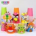 12 PCs multi color DIY handmade paper cups material kit / Whole set Kids Child kindergarten school art craft educational toys