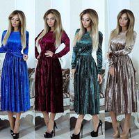 Fashion Velvet Liva Girl New Dress Pleated Long Sleeve Dress Vintage Style Quality Solid Knee Length