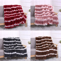 Soft Long Plush Shaggy Silky Blankets Faux Fur Throw Double Bedspread Striped Quilt Throw Blanket for Wedding Decor