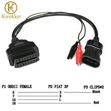 KWOKKER-Adaptador de diagnóstico OBD 2 para Fiat Alfa Lancia, 3 pines a OBD 2, Cable de extensión, 16 Pines, hembra, buena calidad