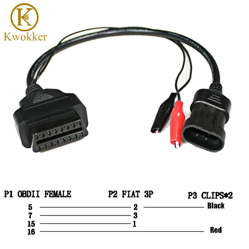 KWOKKER OBD 2 for Fiat Alfa Lancia 3 Pin To OBD 2 Diagnostic Adapter Connector Extension Cable 16 Pin Female Good Quality obd 2 16 pin female to 16 pin male extender cable