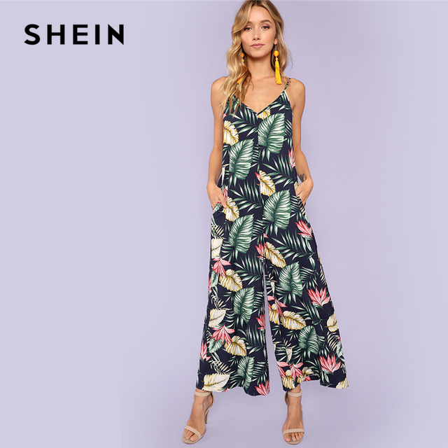 18779d408a SHEIN Multicolor Vacation Bohemian Beach Backless Jungle Leaf Print Cami  Mid Waist Jumpsuit Summer Women Weekend Casual Jumpsuit