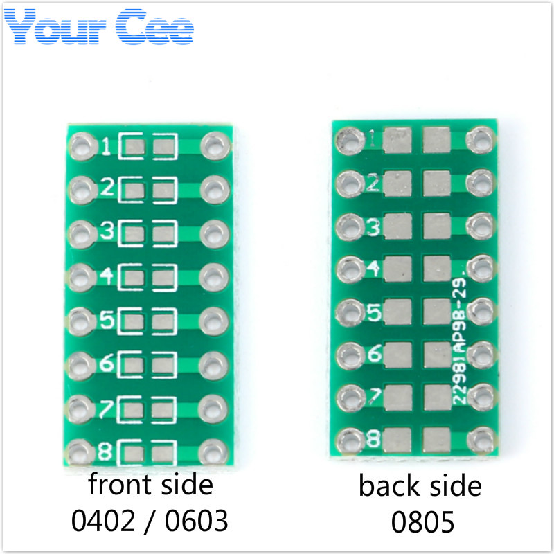 Capable 100pcs Smt Dip Adapter Converter 0805 0603 0402 Capacitor Resistor Led Pinboard Fr4 Pcb Board 2.54mm Pitch Smd Smt Turn To Dip Integrated Circuits