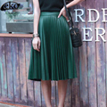 Cuero de LA PU Falda de Las Mujeres de Cintura Alta Bodycon Midi Falda Sexy Clubwear de cuero de Imitación de La Cadera Delgada Plisada Faldas de La Manera de La Vendimia 2016