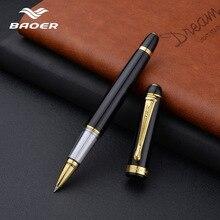 Baoer Golden black Roller ball Pen School Office supplies ball pens high quality send friend business gift