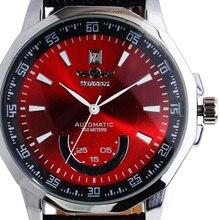 Победитель Марка нержавеющей Dodecagon чехол Авто Дата красный/синий/черный циферблат скелет кожаный ремешок для мужчин автоматические механические часы подарок