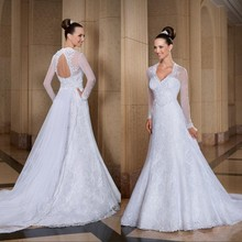 Wedding Dresses With Long Sleeves Detachable Train