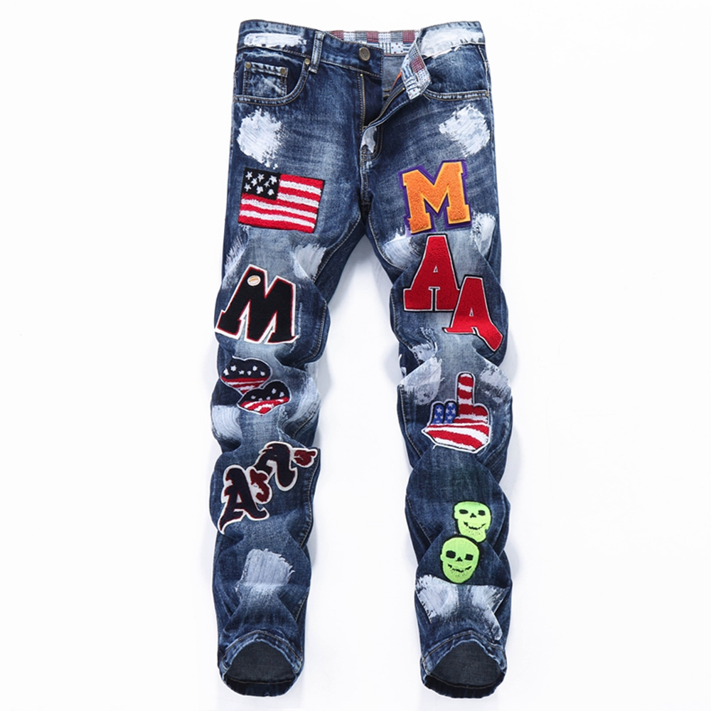 2019 Designer Jeans Mens US Flag Badge Patches Blue Denim Jeans Slim Fit Straight Embroidery Male Jeans Homme Hip Hop Trousers