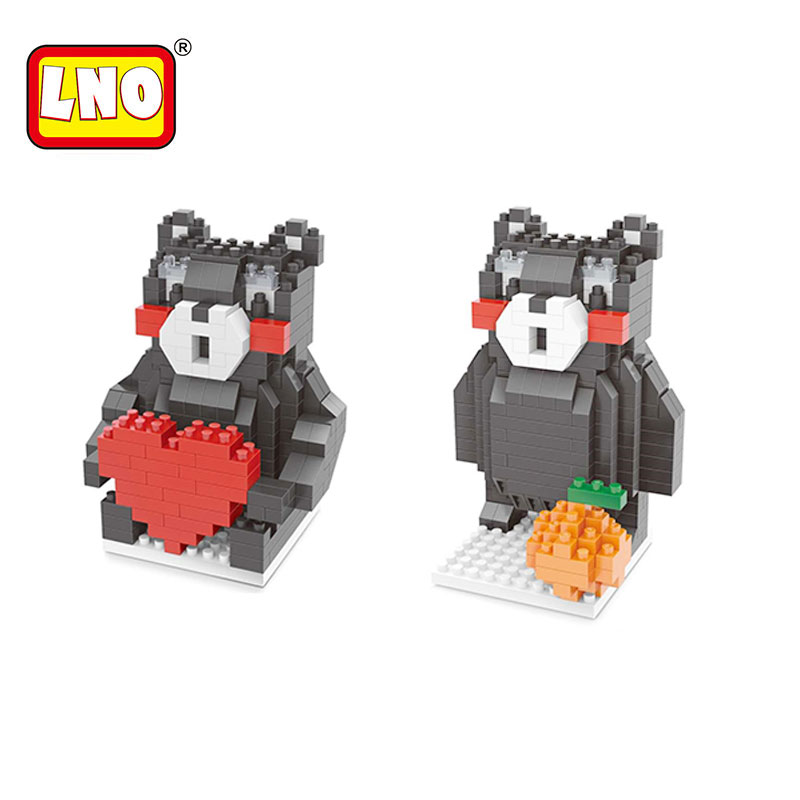 Funny nano blocks kawaii Japanese Kumamon bear plastic building bricks anime 3d cube cartoon model diy educational toys for kid.