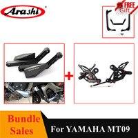 Arashi 1 Set CNC Adjustable Footrests Rearset Foot Peg Engine Slider Crash Pads For YAMAHA MT 09 2014 2016 MT09 MT 09 MT 09