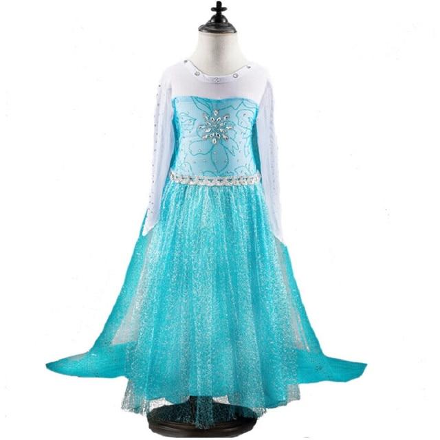 High quality 2016 New arrive blue elsa Costumes Girls Cosplay party Dress Princess anna Christmas vestidos elsa free shipping