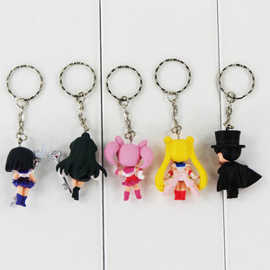 Image 4 - 5pcs/lot Cartoon Anime Sailor Moon Mars Jupiter Venus Mercury Keychains PVC Figures Toys Key Ring Pendants Gift for Kids