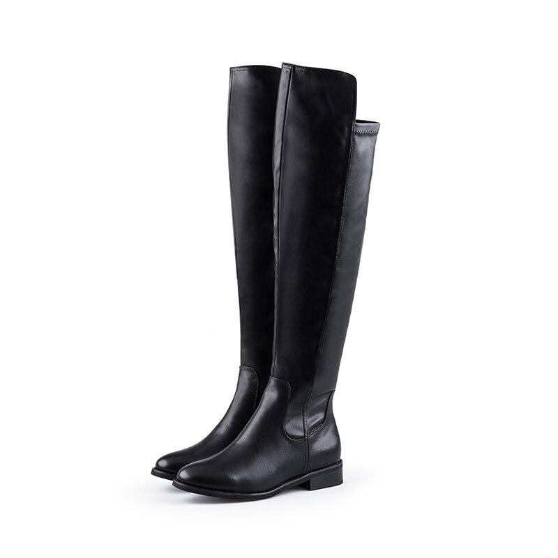 2017 La Ty01 Negro Mujer Bajos Zapatos Grande Hasta Oficina Altas Botas 16 Tacones Tamaño Redonda Mujeres Rodilla Punta Botasy 4 Vestido Nancyjayjii De twAYBY