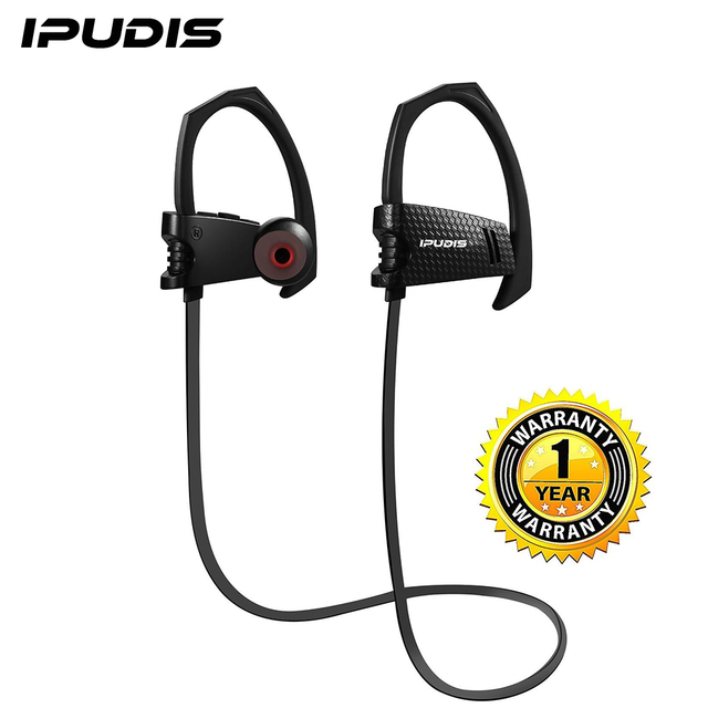 IPUDIS Sport Bluetooth Earphone Earhook Noise Cancelling IPX4 Waterproof Wireless Headphone Ear Hook with Microphone 95mAh