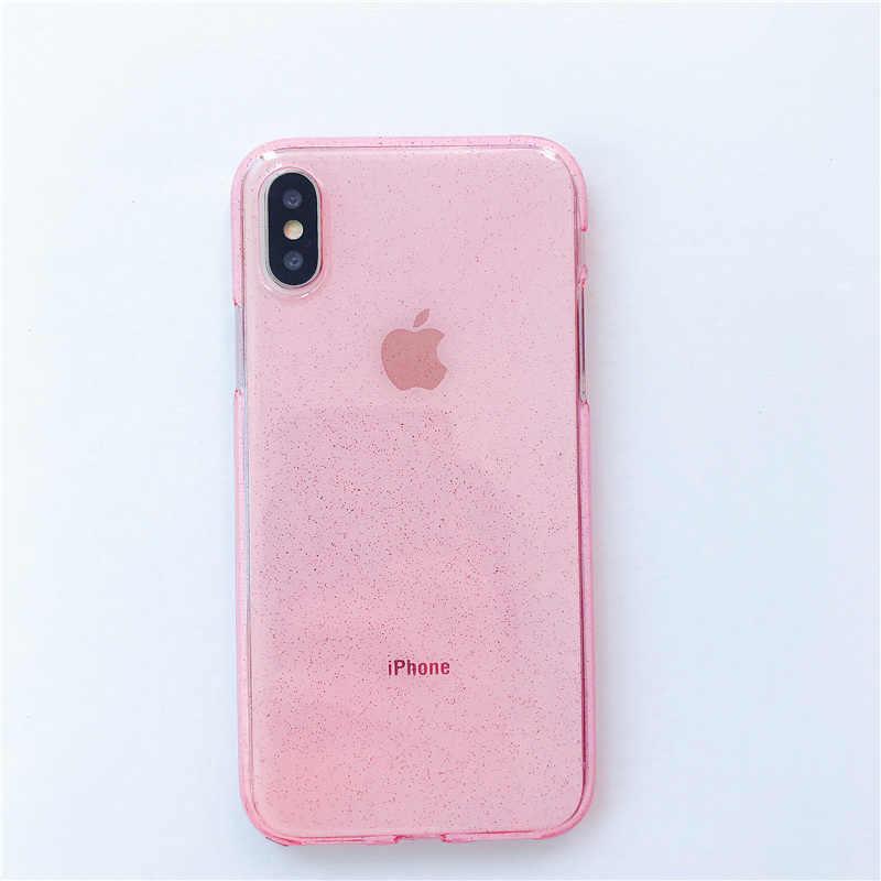 Étui pour iphone 11 11Pro Max X XR XS Max 6 6S 7 8 Plus coque arrière en poudre TPU Bling