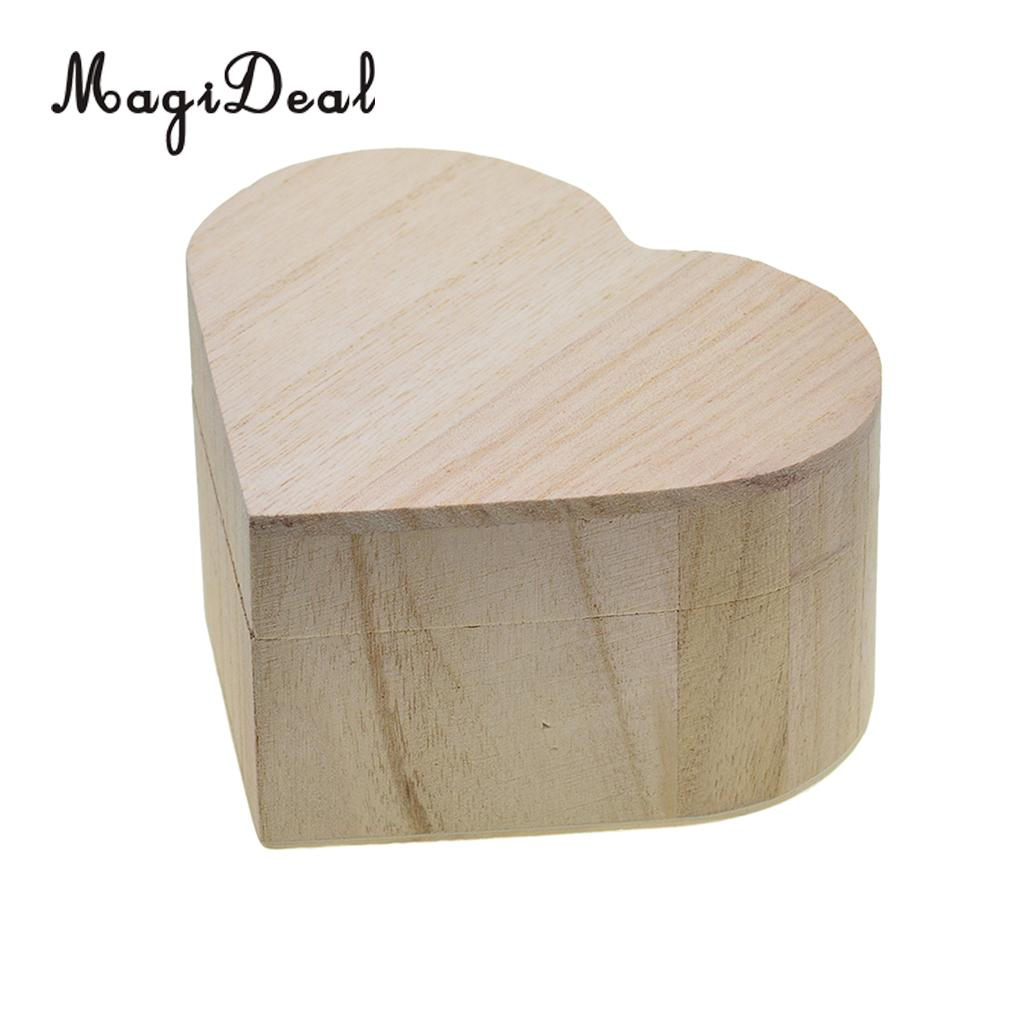 Heart Shape Wood Box Jewelry Box Wedding Gift Makeup Cosmetic Desk Rangement Wooden Organizer Storage Box with Magnetic Lid