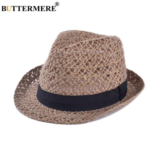 c6d2f247d7e BUTTERMERE Summer Beach Sun Hats Lady Linen Classic Stylish Casual Straw Hat  Panama Fashion Designer British Jazz Hat Fedora