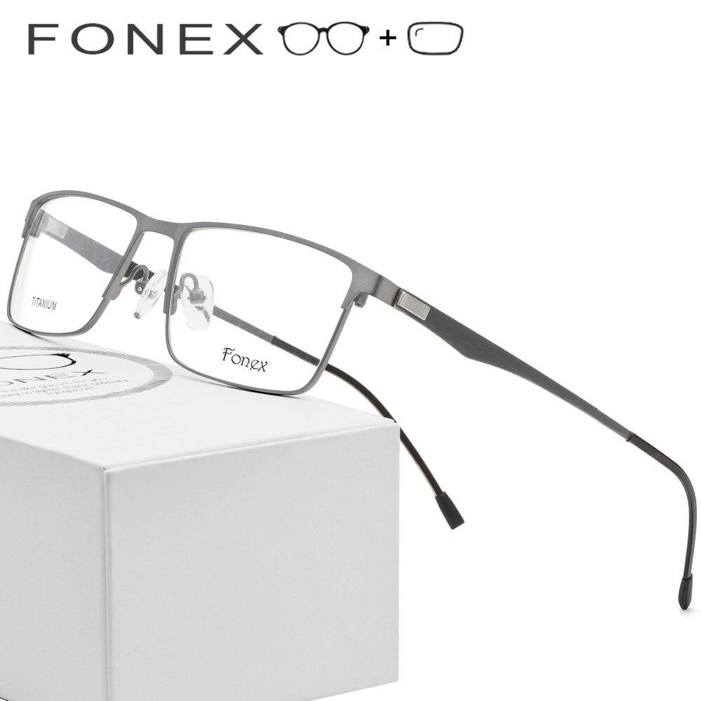 Lega di titanio Occhiali Da Vista Degli Uomini Ultralight Quadrato Miopia Prescrizione di Occhiali Da Vista In Metallo Telaio Dell'ottica Senza Viti Occhiali