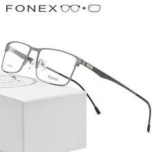 950cf89a77 Aleación de titanio gafas hombres ultraligero Plaza miopía prescripción  gafas de montura de Metal sin tornillos gafas