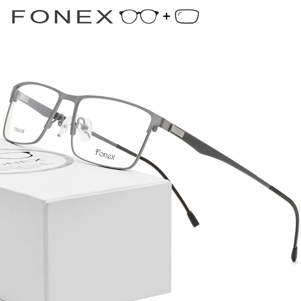 Titanium Alloy Prescription Glasses Men Ultralight Square Myopia Prescription Eyeglasses Metal Optical Frame Screwless Eyewear