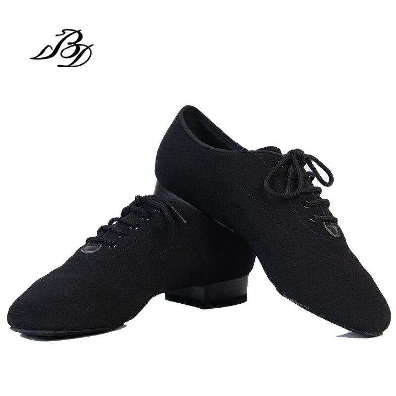 Chaussures de danse moderne hommes en cuir véritable marque carré BD 309 parti salle de bal chaussures latines 317 peau de vache souple noir BD 309 2.5 CM chaud