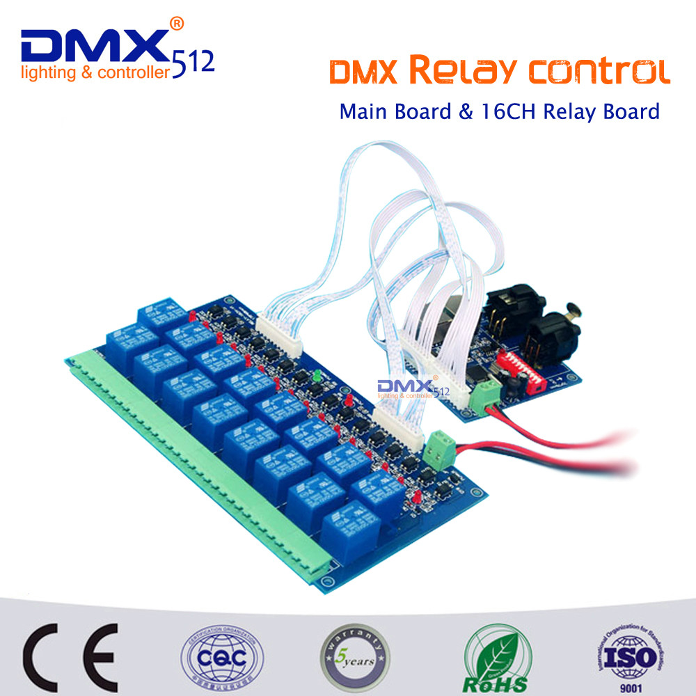 ФОТО Free Shipping 16CH dmx512 relay controller (max 10A) ,Relay swich 16CH dmx Controller,Connect the 16CH DMX main relay board